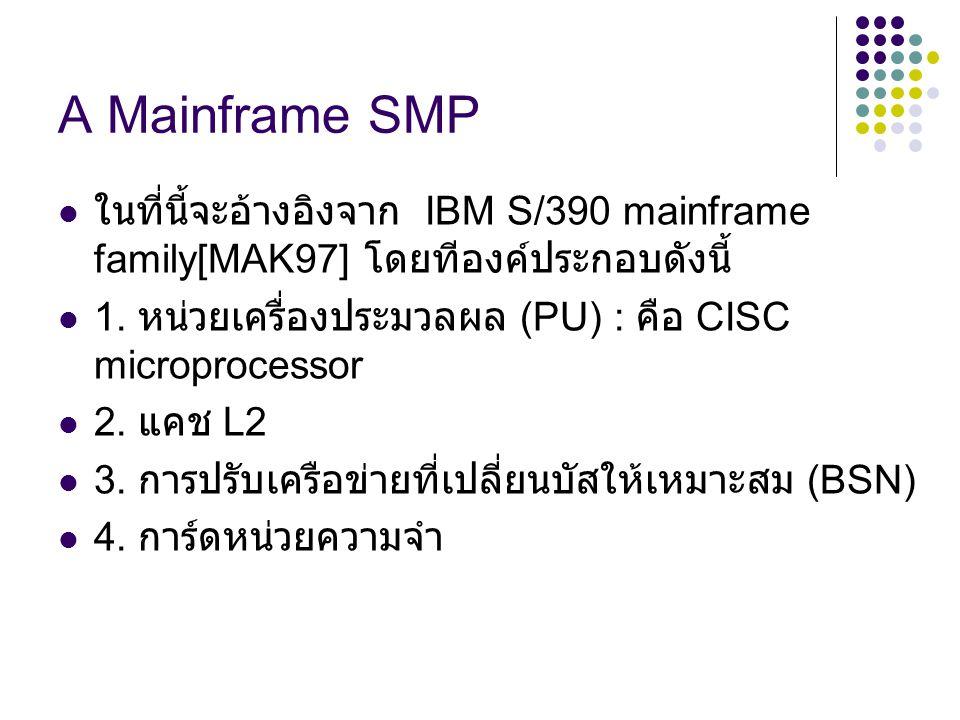 A Mainframe SMP ในที่นี้จะอ้างอิงจาก IBM S/390 mainframe family[MAK97] โดยทีองค์ประกอบดังนี้ 1. หน่วยเครื่องประมวลผล (PU) : คือ CISC microprocessor.